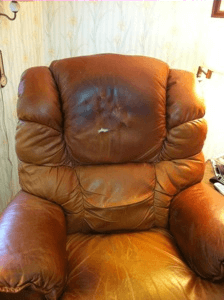 Leather Pros Inc Stained Chair
